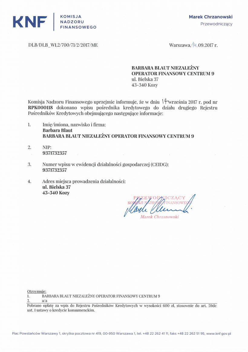 Certyfikat KNF