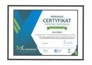 Certyfikat Mikrokasa
